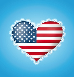 Heart shape flag of USA vector image vector image