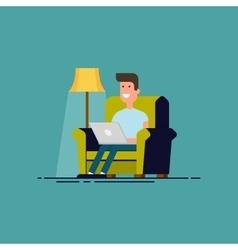 Man sitting in chair with laptop Freelancer work vector image vector image