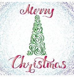 Merry Christmas and Tree 2 vector image vector image