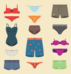 underwear clothes fashion look man and woman vector image