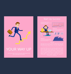 your way up and start success vector image