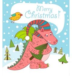 Christmas greeting card with dragon vector