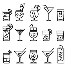Cocktail line icons vector image vector image