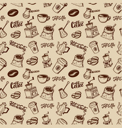 coffee seamless pattern coffee beans mills cups vector image