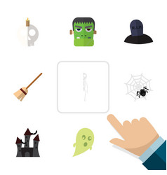 flat icon celebrate set of skeleton monster vector image vector image