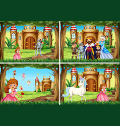 four background scene with princess and knight by vector image vector image