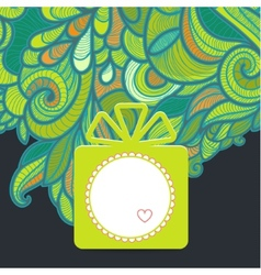 Gift with floral green vector image vector image