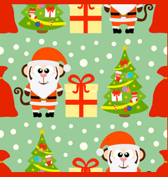new year seamless card with monkey santa claus and vector image vector image