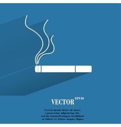 Smoking sign cigarette Flat modern web button with vector image