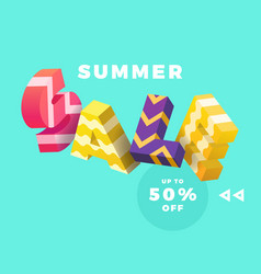 summer sale 3d sign vector image vector image