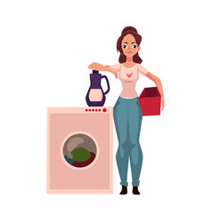 young woman housewife standing next to washing vector image