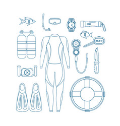 diving equipment thin line set vector image