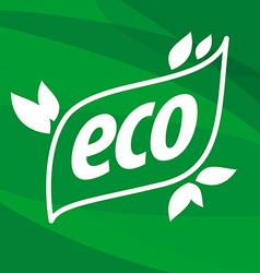 eco logo on a green background vector image vector image