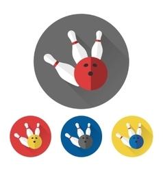 Flat bowling ball and skittles icons vector image vector image
