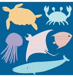 Set 2 of fish silhouettes with simple patterns vector image