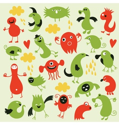 set of little monsters vector image vector image