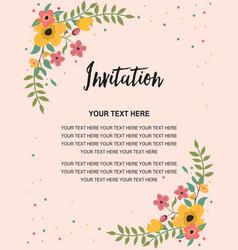 wedding invitation greeting card template vintage vector image vector image