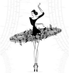 abstract ballet lady music vector image