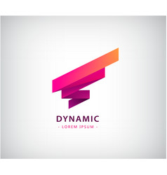 abstract ribbon logo dynamic 3d red shape vector image