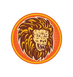 Angry lion head set inside a circle vector