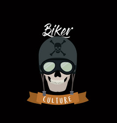 Biker culture poster with skull motorcyclist vector