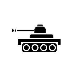 Black icon on white background army tank vector