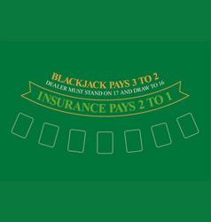 Blackjack table top view vector