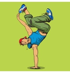 Breakdancer pop art style vector
