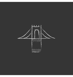 Bridge Drawn in chalk icon vector