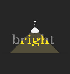 bright word icon with light path line vector image