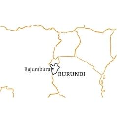 Burundi hand-drawn sketch map vector image