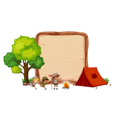 camping kids on wooden banner vector image