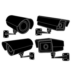 cctv security camera set black outline vector image