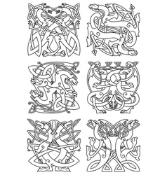 Celtic knot pattern with tribal dragons vector
