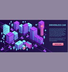 city driverless car banner isometric style vector image