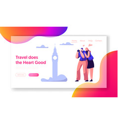 couple lover travel take photo sight landing page vector image