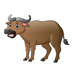 Cute buffalo cartoon vector