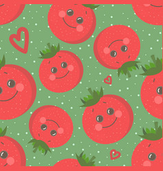 Cute seamless pattern with happy smiling tomato vector