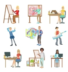Different Artistic Professions Set Of vector