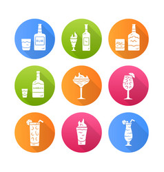 Drinks flat design long shadow glyph icons set vector