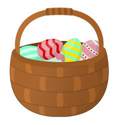 easter basket with eggs icon happy easter on vector image
