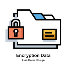 Encryption data line color icon vector