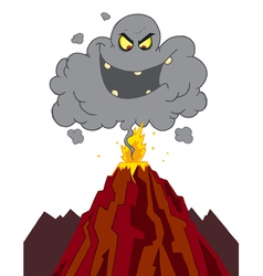 Evil Ash Cloud Above An Erupting Volcano vector image