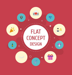 Flat icons sparkler brilliant bridegroom dress vector