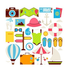 Flat Style Collection of Summer Vacation and vector image