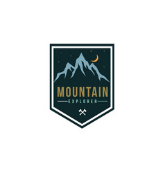 forest mountain adventure explore badge logo vector image
