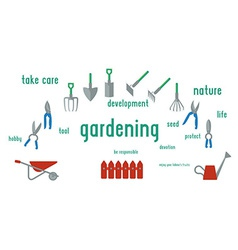 Gardening tools set of Flat design using UI vector image