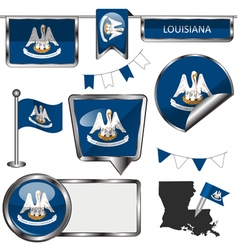 Glossy icons with Louisianian flag vector image