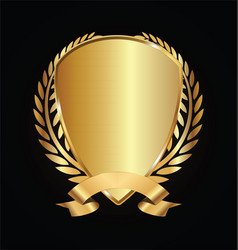 gold and black shield with laurels 15 vector image