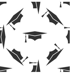 graduation cap icon seamless pattern vector image